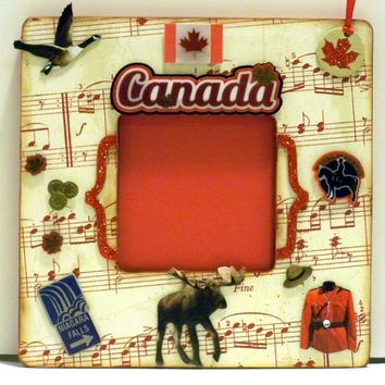 Picture Frame - Memory Frame - Canada Photo Frame - Thank You Gift - Gold Maple Leaf - Canadian Flag
