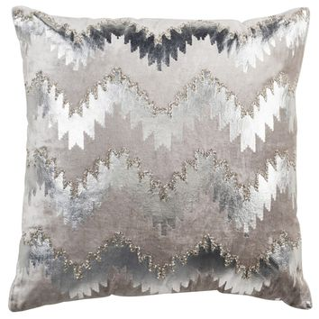 Safavieh 22-inch Sophia Flamestitch Silver Decorative Pillow | Overstock.com Shopping - The Best Deals on Throw Pillows