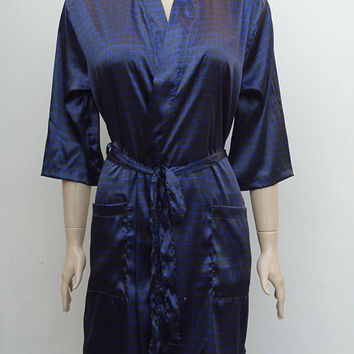 Women's black and purple colour soft satin kimono robe, bridal robe, honeymoon's robe, satin dressing gown.