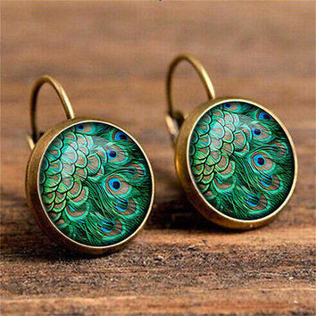 Euro-American Bohemia Feather Fashion Retro Glass Gem Stud EarringsJewelryGiftHU