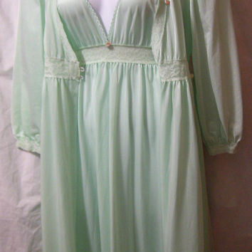 Peignoir Set, Mint Green, Long Robe, Night Gown Set, By Movie Star, Size L Large, Bridal Honeymoon, Sexy Night Gown