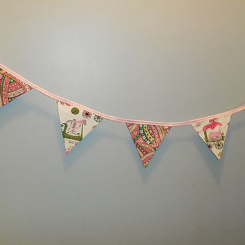 Adorable Circus Themed Pink and Green Nursery Or Child's Room Bunting