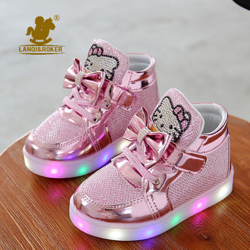 Hello Kitty Girls Shoes With LED Light
