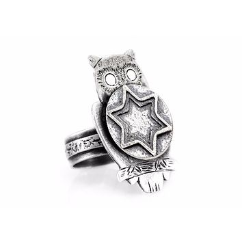 Coin ring with the Star of David coin medallion on owl Star of David jewelry jewish ring Jewish jewelry