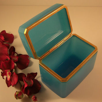 Large French Blue OPALINE Jewelry Casket // Dore Ormolu Mounts // SPECTACULAR // from Successionary