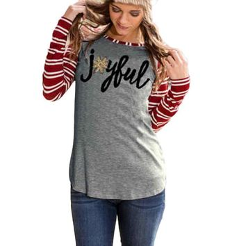 Joyful Long Sleeve Baseball Stripe Shirt