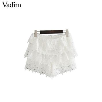 Women Sweet White Lace Shorts Ruffles Multi Layer Zipper Lace Flower Ladies Summer Casual
