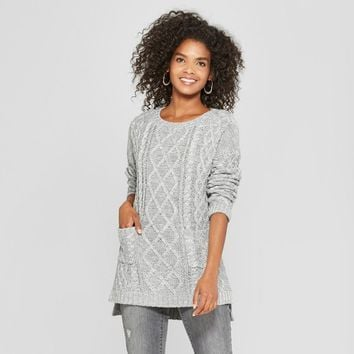 Women's Long Sleeve Tunic Sweater with Pockets - Cliche Gray