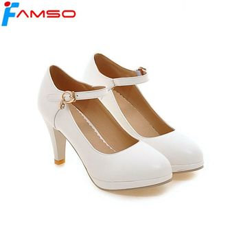 FAMSO 2018 New Sexy Women Pumps  Round toe Shoes High Heels Office Low Shoes Designer Office Women's Pumps ZWP2641