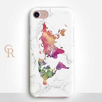 World Map Phone Case For iPhone 8 iPhone 8 Plus - iPhone X - iPhone 7 Plus - iPhone 6 - iPhone 6S - iPhone SE - Samsung S8 Watercolor