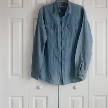 Vintage Mens Denim Shirt, Wrangler Casual Sport Shirt, Size Medium, Long Sleeve Hipster Shirt, Cotton Denim, Blue Jean Shirt