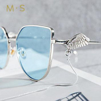 MS 2018 Cat Eye Oversized Sunglasses Wing design Women Fashion Sun Glasses Lady Brand Designer Vintage Shades Gafas Oculos UV400