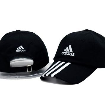 Black & White Adidas Printed Cotton Baseball Sports Cap Hat