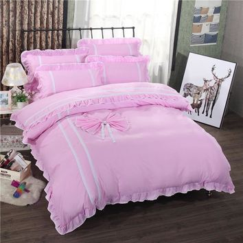 Pink Bedding Set King Lace Duvet Cover Set Princess Bed Sheet linens Set luxury Bowknot Bedding ,quilt Cover Sheet pillowcase