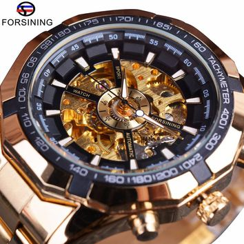 Forsining Mens Watches Top Brand Luxury Golden Men Mechanical Skeleton Watch Mens Sport Watch Designer Fashion Casual Clock Men