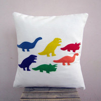 Children decor: kid's dinosaur pillow - rainbow dinos, colorful eco felt appliques on white organic cotton pillow cushion