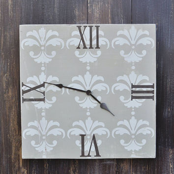 Wood Wall Clock  - Roman Numerals with Damask Pattern - Hand Painted Wall Decor