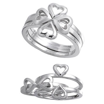 925 Sterling Silver Stackable Four Leaf Clover Heart Ring