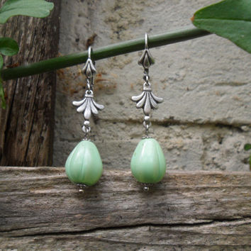 Green Pumpkin earrings, green teardrop earrings, vintage green teardrop beads, ox silver plated, French lever, scallop detail; UK seller