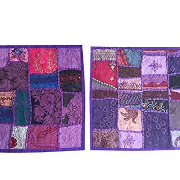 "Mogul Sofa Cushion Covers Embroidered Patchwork Piurple Bohemian Pillow Cases 16"" x 16"""