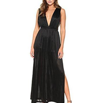 Women's Satin Knit Plunging V-Neck Side Slits Maxi Dress