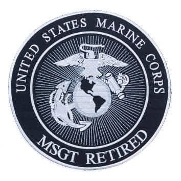 United States Marine Corps MSGT retired Iron on Center Patch for Biker Vest CP174