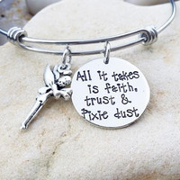Disney - Bangle - Tinkerbell - Faith Trust and Pixie Dust - Hand Stamped - Stamped Jewlery - Jewelry - Tink