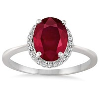 2.20 Carat Ruby and White Topaz Ring in .925 Sterling Silver