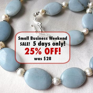 Amazonite and freshwater pearl necklace. Elegant, sophisticated, long jewelry. Powder-blue, silver and white.