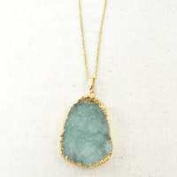 Aqua Druzy Necklace, Seafoam Geode Gold Natural Stone Rough Agate Gemstone Pendant Jewelry