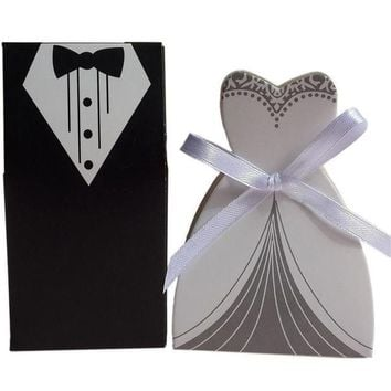 ONETOW 50 Pcs Tuxedo Dress Groom Bridal Wedding Party Favor Gift Ribbon Candy Boxes