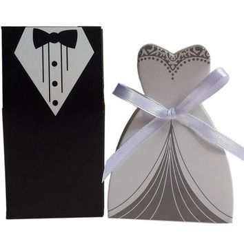 LMFONIS 50 Pcs Tuxedo Dress Groom Bridal Wedding Party Favor Gift Ribbon Candy Boxes