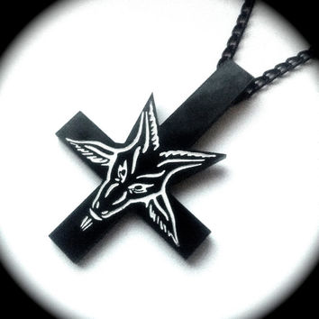 Inverted Cross Baphomet Pendant Necklace