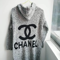 Chanel Hooded Sweater Knit Cardigan Jacket Coat Grey