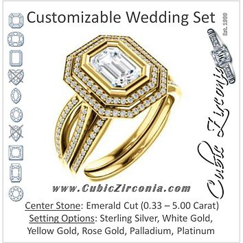 CZ Wedding Set, featuring The Eliana engagement ring (Customizable Bezel-set Emerald Cut with Double Halo and Split Pavé Band)