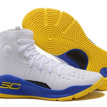 Under Armour Men's SC30 Stephen Curry 4 White/Royal Blue/Yellow Sport Sneaker