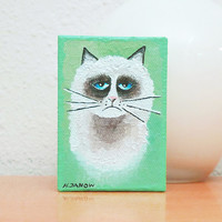 ACEO Animal Cat Painting, Cat Art Original Acrylic Painting on Canvas, Artist Trading Card ATC Signed 2.5 x 3.5