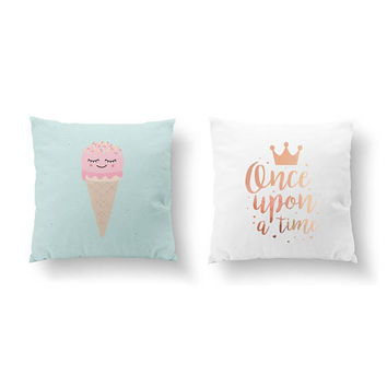 SET of 2 Pillows, Crown Pillow, Nursery Decor, Gold Pillow, Kids Art, Once Upon a Time, Ice Cream, Throw Pillow, Cushion Cover, Bed Pillow