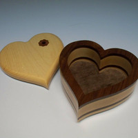 Wooden Heart Shaped Jewelry Box - With Inlay, Wedding Gift, Birthday Present, Ring Box,Wedding Gift, Jewelry Holder