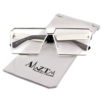 Square Oversized Polarized Metal Sunglasses Mirrored Reflective Lens
