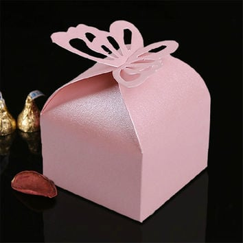 10PCS Pink Butterfly LaserWedding Party Favor Box Butterfly Wedding Box Party Candy Box Cut Boxes Wedding Favors N306-1