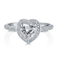 Heart Cut Clear Cubic Zirconia 925 Sterling Silver Halo Ring 1.13 Ct #r778
