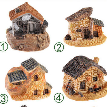 8 Styles Micro Cottage Landscape Decoration For DIY Resin Crafts Stone House Fairy Garden Miniature Craft 1PC