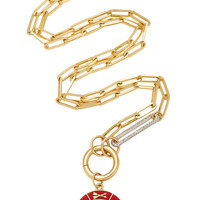 "Large Red Star Symbol Wheel Medallion On Bespoke 22"" Classic Chain Necklace 