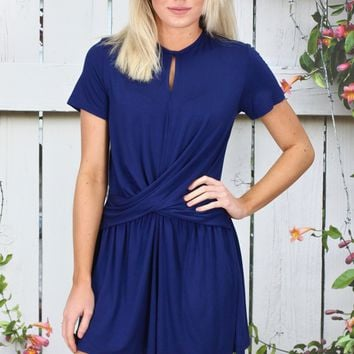 Casual Chic Twisted Front Romper {Navy}