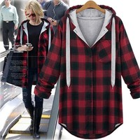 Warm Women's Plaid Shirt Hoody Female Long Sleeve Tops Plus Size Winter Blouse Blusas Femme Black\Red Casual Outwear XL-5XL