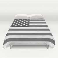 """The national flag of the USA - Authentic """"G-spec"""" 10:19 scale - B&W version Duvet Cover by LonestarDesigns2020 - Flags Designs +"""