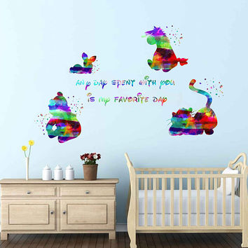 kcik1988 Full Color Wall decal Watercolor Character Disney Winnie the Pooh Tigger Piglet Eeyore quote Sticker Disney children's room