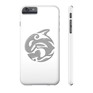 Diving Killer Whale Tattoo in Grey Phone Case