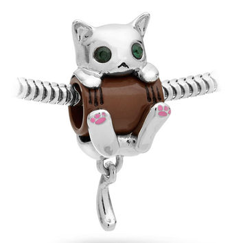 Hang in There Kitty Charm Bead